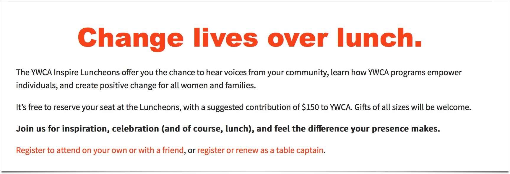 YWCA Fundraiser Luncheons Page Hero Image with Dropshadow