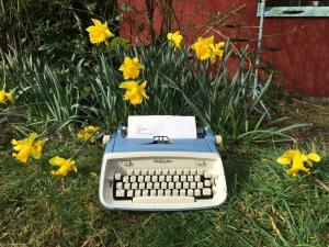 Royal Aristocrat Typewriter with Daffodils
