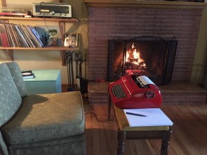 This was the day I wrote 40 pages: my darling husband set me up in front of the fire. Mostly I used a more ergonomic desk, though.